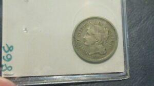 1868 US 3 Cent Nickel F/VF FREE SHIPPING