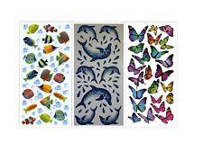 Sticker Aufkleber Schmetterlinge Fische Delfine Dekoration Bad Fliesen 3D