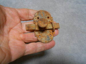 Antique French iron door latch lock, 19thc