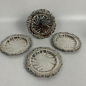 SET 4  Vintage Wallace  Baroque  Butter Dish  Silver plate 743