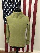 Only Mine 100% Cashmere Turtleneck Sweater women's MEDIUM green soft warm 1c258