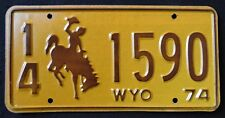 "WYOMING  "" BRONCO - BUCKING HORSE - COWBOY "" 1974 Vintage Classic License Plate"