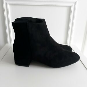 NEW LOOK Black Faux Suede Low Heel Ankle Chelsea Classic Boot Sz 6 / 39