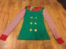 B77 Womens' Holiday Sleep Shirt, Red/Green,Elf Suit, XS