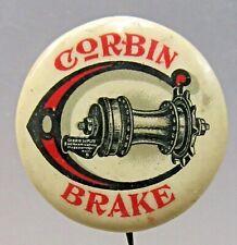 circa 1900 CORBIN BRAKE white pinback button Bike Bicycling ^