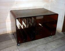 Table meuble sur Roulettes Michel Dumas en Plexiglas Fumé années 70 meuble bas