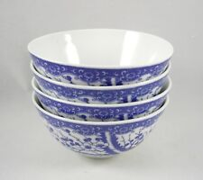 Asian Porcelain Blue White 4 Rice Bowls Cherry Blossoms Footed Made in Japan Vtg