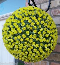 Best Artificial 38cm Yellow Rose Topiary Hanging Flower Ball Grass Plant New