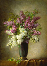 Art Oil painting Martial Hupe - A still life with lilacs in a vase on a table