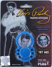 ELVIS PRESLEY Talking Keychain Keyring Limited King Blue Suede Rock and Roll NEW