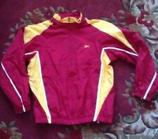 SPEEDO Nylon Windbreaker Full-Zip Knit-Lined Pockets Raglan Red/Gold Size M NEW