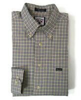 Faconnable Mens Size Large Multicolor Plaid Check Button Down Long Sleeve Shirt