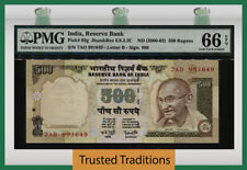 Tt Pk 93g Nd (2000-02) India 500 Rupees Gandhi Pmg 66 Epq Gem Pop 2 None Finer!
