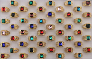 32pcs Wholesale Jewelry Lots Mens Cool Glass Ring Clear Rhinestone Gold P Rings