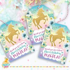 9 X Personalised Gold UNICORN Magical Gift Tags Birthday Party Favor Thank You