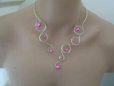 Collier Original Rose Fushia Argenté pr robe de Mariée/Mariage/Soirée perles