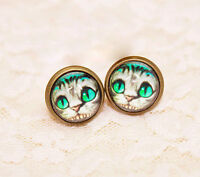 Alice in wonderland Cheshire Cat charm stud / clip on earrings multiple choices