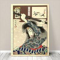 "Japanese Kabuki Art CANVAS PRINT 16x12"" Danjuro as Shishin ~ Kunichika #95"