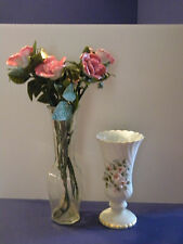 White Lefton China and Clear Glass Flower Vases With China Roses Florist Wedding
