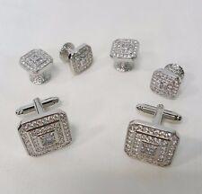 NEW Mens Silver Square Faux Diamond Zircons Stone Cuff Links & Studs Jewelry Set
