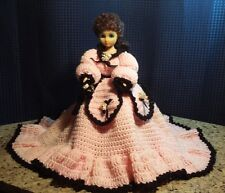 Vintage Sleepy Eye Plastic Doll with Pink Crochet Dress & Crotchet Petty Coat