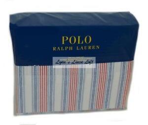 Ralph Lauren Henry Stripe Polo Red & Navy Blue 4P Full Sheet Set New Cotton