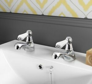 Basin Sink Taps Ceramic Lever Victorian Traditional Hot & Cold tap Pair BARFORD