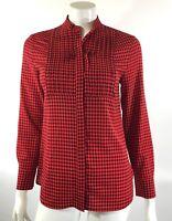 J Crew Womens Drapey Tuxedo Shirt Top Size XS Black Red Checkered Blouse
