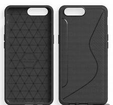 Ragetorc OnePlus 5 Carbon Fibre & Silk Effect Black Flexi Gel Tough Case Cover
