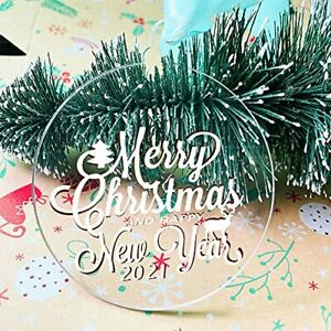 20Pcs 3.5Inch Clear Blank Acrylic Christmas Ornaments 2021 Unfinished Round A...