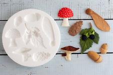 Silicone Mould Woodland, Fir Cone, Mushrooms, Acorn, Blackberry M192