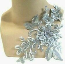 Gold Silver Grey Bronze Applique Trim 3D Lace Sequin, Dance Costume Bridal, #17