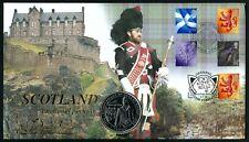 Gb Scotland, Scott 20-23, Rare Fdc Cover With Isle Of Man Coin City Of Edinburgh