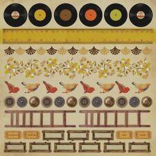 12x12 IN THE ATTIC Sticker Sheet Vingage Buttons Vinyl Records Ladder Kaisercraf
