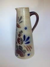 Salt Glaze Studio Art Pottery Ceramic Pitcher Incised Pattern MCM? Maker Unknown