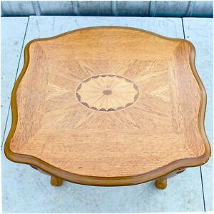 Vintage Wooden Ornate Side Table Oak Finish