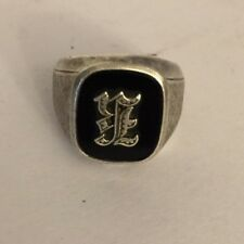 vintage STERLING   Men's Initial E Ring Onyx size 6