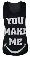 New Womens Graphic Print Cotton Ladies T-Shirt Mod Girls Vest Top Size S/M M/L