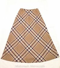 Talbots SIZE 4 Plaid Full Length A-Line Wool Skirt Fully Lined Brown Red Maxi