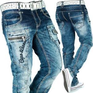 Cipo & Baxx Jeans Homme Loisirs Pantalon Clubwear Motard Style Denim Disco Dope