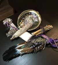 Abalone Shell Smudge Feather Kit Goddess Reiki Shaman Pagan Wicca Sage
