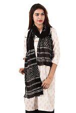 Vintage Block Print Dupatta Long Indian Scarf Fabric Decor Black Veil Stole Boho