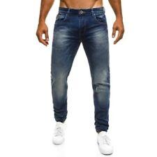 Pantaloni da uomo blu in misto cotone, taglia 32