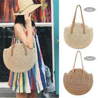 Summer Beach Bag Round Handwoven Rattan Circle Women's Straw Satchel Purse US