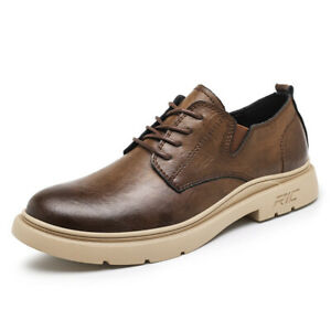 Mens Business Leisure Shoes Oxfords Round Toe Work Office Walking Non-slip Retro