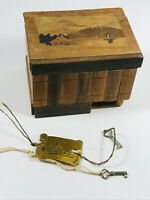 Vintage Japanese Wooden Puzzle Mystery Box Mt. Fuji repair japan w/ Key