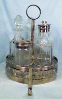 Vintage Castor Set Silverplate Basket Glass Oil Vinegar Salt Pepper Mustard Pot