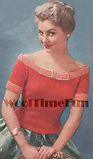 Vintage Knitting Pattern Lady's 1950s off-Shoulder/Scoop Neck Sweater/Jumper/Top