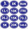 Oval Running Decal 13.1, 26.2, 5k, 8k, 10k, 15k, 20k, RUN, iTRI, 70.3 Triathlon