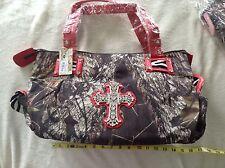 Mossy Oak Camouflage Fashion Shoulder Hand Bag Purse Croco Rhinestone Cross Red
